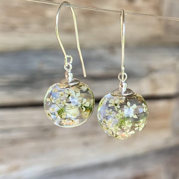 Earrings with Queen Anne's Lace Flowers