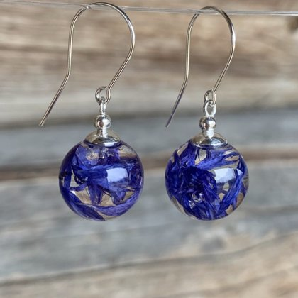 Earrings with Cornflower Petals
