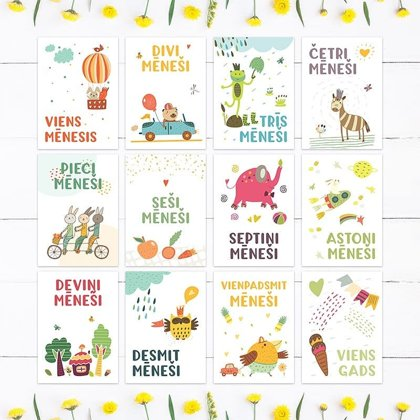Baby Month Cards, FUN ANIMALS