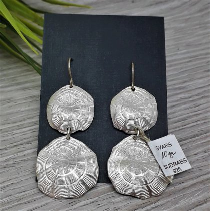 Silver earrings SCALES OF HAPPINESS, long