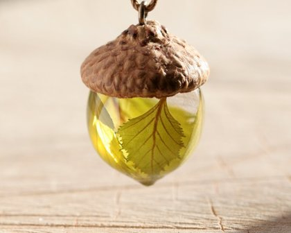 Acorn Necklace with Birch leaves